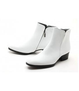 WHITE SLIP ON CHELSEA BOOTS