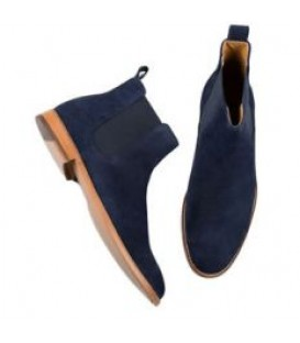 BLUE SLIP ON SUEDE CHELSEA BOOTS